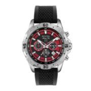 Bulova® Marine Star Mens Black Silicone Strap Chronograph Watch 96B186