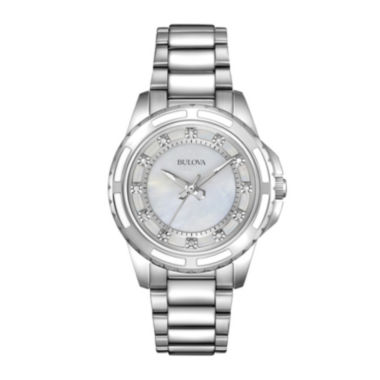 jcpenney.com | Bulova® Womens Silver-Tone Mother-of-Pearl Diamond-Accent Watch 96P144