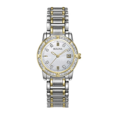 jcpenney.com | Bulova® Womens Diamond-Accent Mother-of-Pearl Watch 98R107