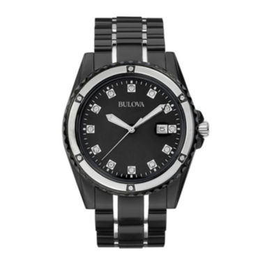 jcpenney.com | Bulova® Mens Black Diamond-Accent Watch 98D107