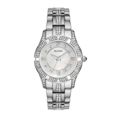 jcpenney.com | Bulova® Womens Crystal-Accent Silver-Tone Bracelet Watch 96L116