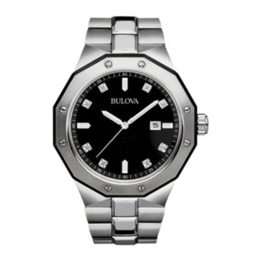 jcpenney.com | Bulova® Mens Diamond-Accent Stainless Steel Watch