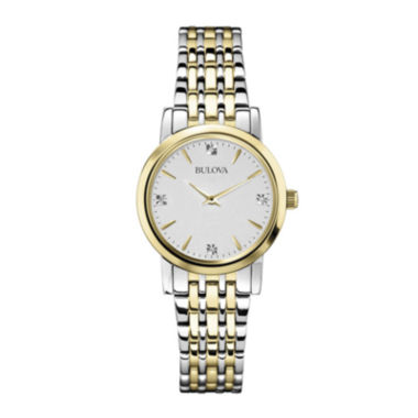 jcpenney.com | Bulova® Womens Diamond-Accent Two-Tone Watch 98P115