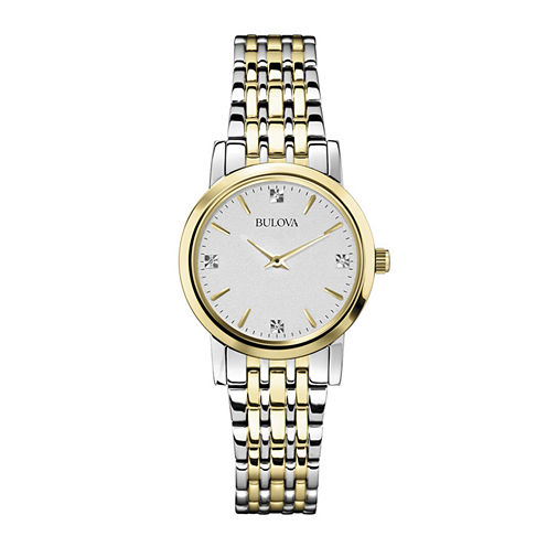 Bulova® Womens Diamond-Accent Two-Tone Watch 98P115