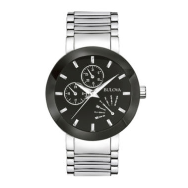 jcpenney.com | Bulova® Mens Black-Dial Stainless Steel Watch 96C105