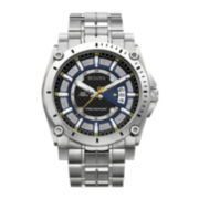 Bulova® Mens Gray Dial Stainless Steel Watch 96B131