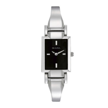 jcpenney.com | Bulova® Womens Rectangular Black Dial Stainless Steel Bangle Watch 96L138