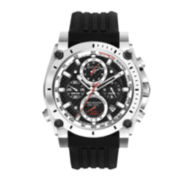 Bulova® Precisionist Mens Black Silicone Strap Chronograph Watch 98B172