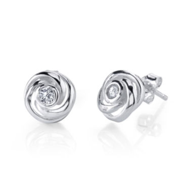 jcpenney.com | Sterling Silver Knot Cubic Zirconia Stud Earrings