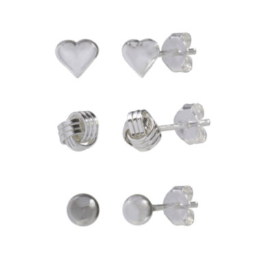jcpenney.com | Sterling Silver Trio Set Polished Stud Earrings