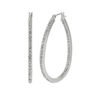 jcpenney.com | Crystal Silver-Plated Oval Hoop Earrings