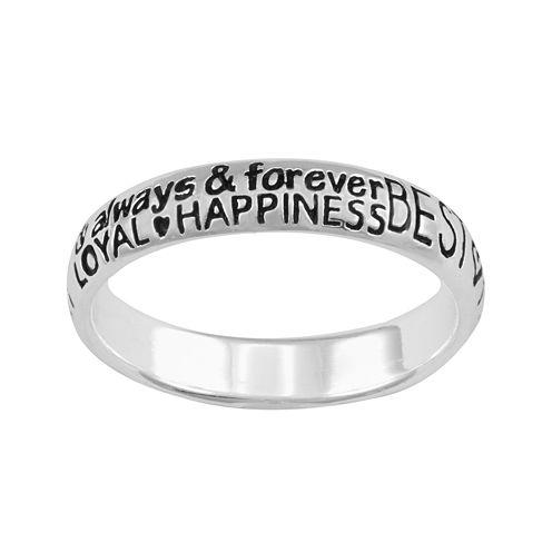 Silver-Plated Best Friends Graffiti Ring