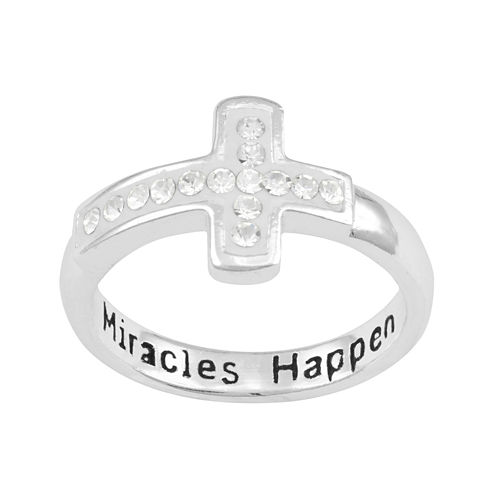 Silver-Plated Crystal Cross Miracles Happen Ring