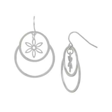 jcpenney.com | Silver-Plated Circle Flower Drop Earrings