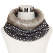 Slub Knit Cowlneck Scarf with Faux-Fur Trim