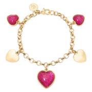 Liz Claiborne® Pink Heart Charm Bracelet