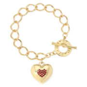 Monet® Red Crystal Heart Locket Bracelet