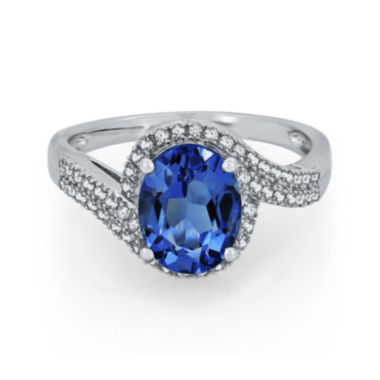 jcpenney.com | Genuine Blue Topaz and Lab-Created White Sapphire Curve Ring