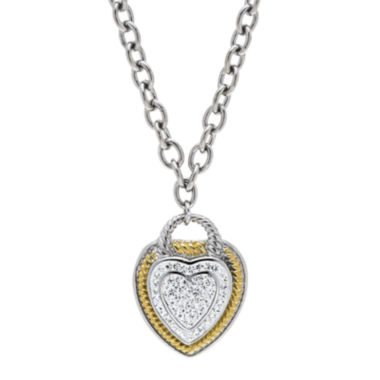 jcpenney.com | Crystal 18K Ion-Plated Two-Tone Stainless Steel Heart Pendant Necklace