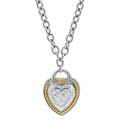 Crystal 18K Ion-Plated Two-Tone Stainless Steel Heart Pendant Necklace