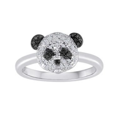 jcpenney.com | 1/10 CT. T.W. White and Color-Enhanced Black Diamond Sterling Silver Panda Ring