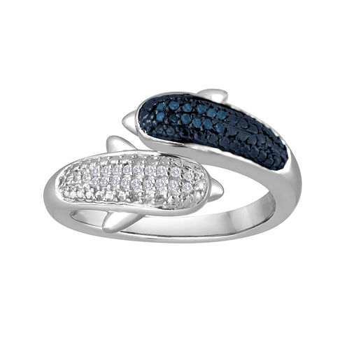 1/10 CT. T.W. White and Color-Enhanced Blue Diamond Sterling Silver Dolphin Ring