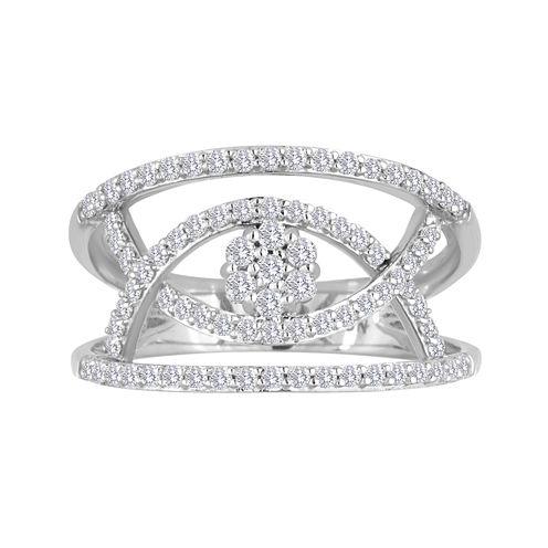 diamond blossom 1/2 CT. T.W. Diamond Sterling Silver Open Orbit Ring