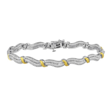 jcpenney.com | 1/3 CT. T.W. Diamond 14K Yellow Gold Over Sterling Silver Wave Bracelet