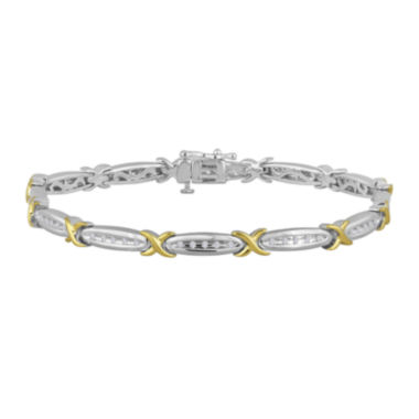 jcpenney.com | 1/4 CT. T.W. Diamond 14K Gold Over Sterling Silver Two-Tone Bracelet