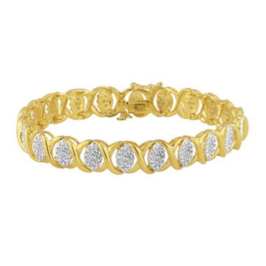 jcpenney.com | 1/4 CT. T.W. Diamond 14K Gold Over Sterling Silver Swirl Bracelet