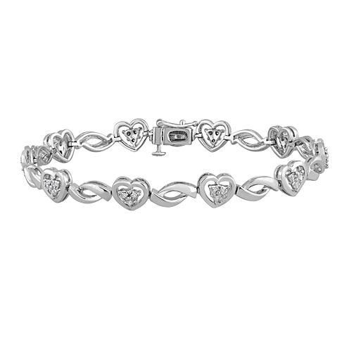 1/10 CT. T.W. Diamond Sterling Silver Heart Bracelet