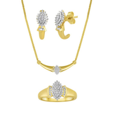 jcpenney.com | 1/10 CT. T.W. Diamond 14K Yellow Gold Over Brass 3-pc. Jewelry Set