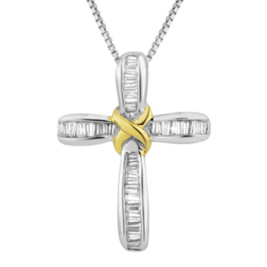 jcpenney.com | 1/4 CT. T.W. Diamond Two-Tone Cross Pendant Necklace