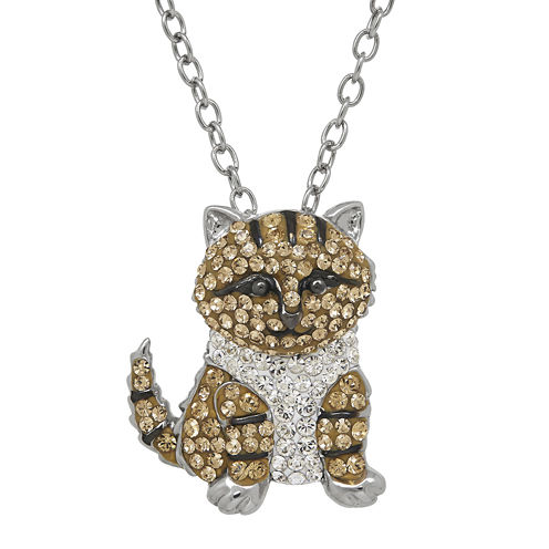Animal Planet™ Crystal Sterling Silver Maine Coon Cat Pendant Necklace