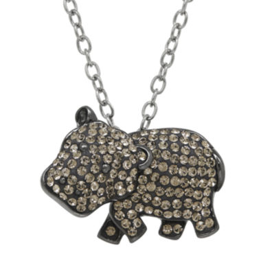 jcpenney.com | Animal Planet™ Crystal Sterling Silver Hippopotamus Pendant Necklace