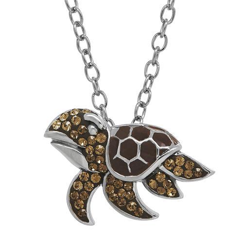 Animal Planet™ Crystal Sterling Silver Endangered Hawksbill Turtle Pendant Necklace