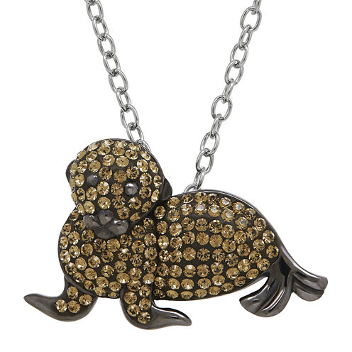 Animal Planet™ Crystal Sterling Silver Endangered Sea Lion Pendant Necklace