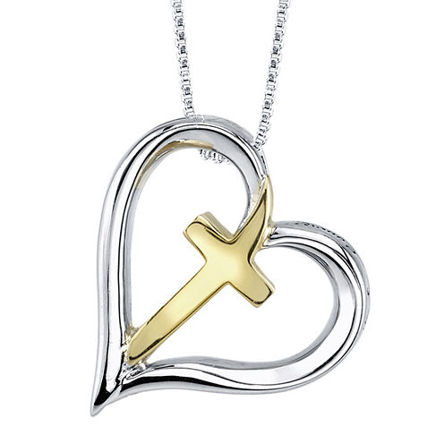 Inspired Moments™ Sterling Silver Cross Heart Pendant Necklace