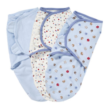 jcpenney.com | Summer Infant® 3-pk. SwaddleMe® Blankets - Blue Sports Dots