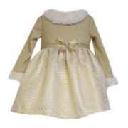 Bonnie Jean® Faux Fur-Trimmed Dress - Toddler Girls 2t-4t