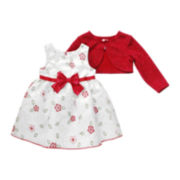Youngland® Floral Dress and Shimmer Cardigan - Toddler Girls 2t-4t