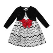 Youngland® Chevron Dress and Cardigan - Toddler Girls 2t-4t