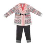 Little Lass Cardigan, Top and Jeggings Set - Preschool Girls 4-6x