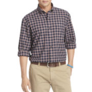 IZOD® Long-Sleeve Plaid Oxford Sport Shirt