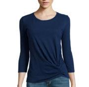 Liz Claiborne® 3/4-Sleeve Knot-Hem T-Shirt