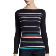 Liz Claiborne® Long-Sleeve Boatneck Ribbed Striped Sweater