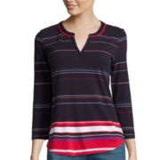 Liz Claiborne® 3/4-Sleeve Striped Split-Neck T-Shirt