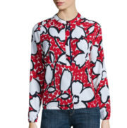 Liz Claiborne® Long-Sleeve Floral Banded-Bottom Woven Top