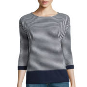 Liz Claiborne® 3/4-Sleeve Striped Ponte Top