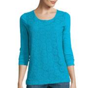 Liz Claiborne® 3/4-Sleeve Lace T-Shirt